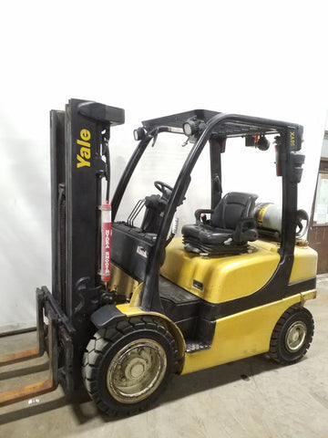 2016 YALE GLP050VX 5000 LB LP GAS FORKLIFT PNEUMATIC 84/189 3 STAGE MAST SIDE SHIFTER 3877 HOURS STOCK # BF21573-NCB - united-lift-equipment