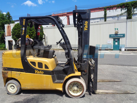 "2011 YALE GLC100VX 10000 LB LP GAS FORKLIFT CUSHION 92/185"" 3 STAGE MAST SIDE SHIFTER 9855 HOURS STOCK # BF9038039-ESPA"