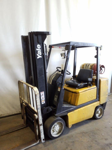 1993 YALE GLC050DE 5000 LB LP GAS FORKLIFT CUSHION 83/190 3 STAGE MAST SIDE SHIFTER 7262 HOURS STOCK # BF9218599-NCB