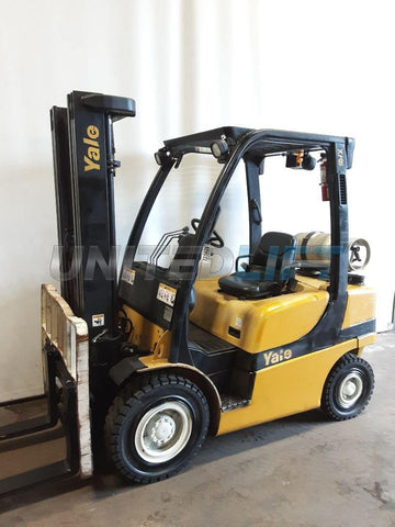 "2010 YALE GLP060VX 6000 LB LP GAS FORKLIFT PNEUMATIC 90/200"" 3 STAGE MAST SIDE SHIFTER 6552 HOURS STOCK # BF9231429-NCB"