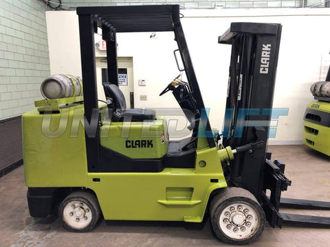 "1997 CLARK GCX50 10000 LB LP GAS FORKLIFT CUSHION 85/198"" 3 STAGE MAST SIDE SHIFTER 7959 HOURS STOCK # BF9121799-BEMIN"