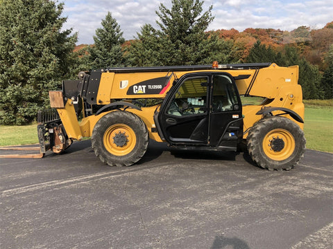 2015 CAT TL1255D 12000 LB DIESEL TELESCOPIC FORKLIFT TELEHANDLER PNEUMATIC 4WD ENCLOSED CAB OUTRIGGERS 3748 HOURS STOCK # BF9892679-ISNY