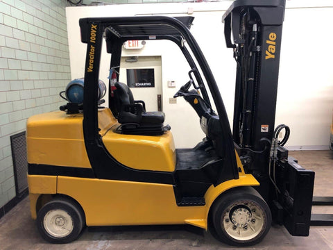 "2011 YALE GLC100VX 10000 LB LP GAS FORKLIFT CUSHION 91/185"" 3 STAGE MAST FORK POSITIONER 14901 HOURS STOCK # BF9126189-BEMIN"