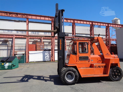 2004 EAVES F305 30500 LB CAPACITY DIESEL FORKLIFT PNEUMATIC 102/135 2 STAGE MAST SIDE SHIFTING FORK POSITIONERS ENCLOSED CAB 723 HOURS STOCK # BF90100049-ESPA