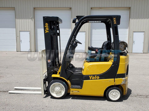 "2016 YALE GLC050VX 5000 LB LP GAS FORKLIFT CUSHION 85/194"" 3 STAGE MAST SIDE SHIFTER 6798 HOURS STOCK # BF9253179-RIL"