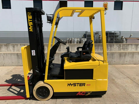2007 HYSTER J40ZT 4000 LB 36 VOLT ELECTRIC FORKLIFT CUSHION 83/189 3 STAGE MAST SIDE SHIFTER 2922 HOURS STOCK # BF924372-RIL