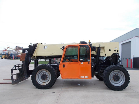 2014 JLG G12-55A 12000 LB DIESEL TELESCOPIC FORKLIFT TELEHANDLER PNEUMATIC 4WD ENCLOSED CAB 2356 HOURS STOCK # BF923825-RIL