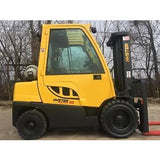 "2008 HYSTER H60FT 6000 LB LP GAS FORKLIFT PNEUMATIC 120"" 2 STAGE MAST ENCLOSED CAB STOCK # BF881122-RIL2"
