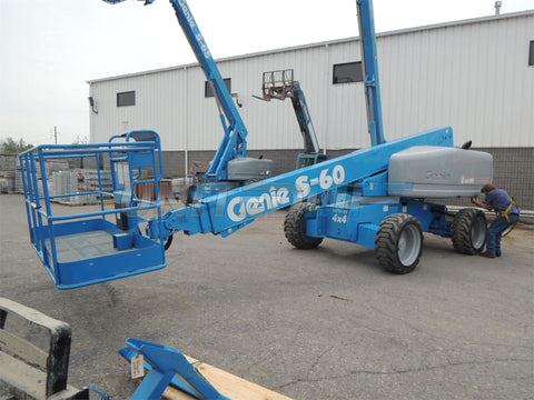 2006 GENIE S60 TELESCOPIC BOOM LIFT STRAIGHT AERIAL LIFT 60' REACH DIESEL 4WD 5186 HOURS STOCK # BF9133399-DBUF