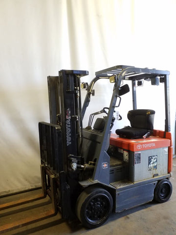 2006 TOYOTA 7FBCU25 5000 LB 36V ELECTRIC FORKLIFT CUSHION 83/189 3 STAGE MAST SIDE SHIFTER 3558 STOCK # BF9218799-NCB
