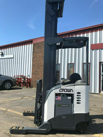 "2001 CROWN RR5020-45 4500 LB REACH TRUCK CUSHION 321"" 3 STAGE MAST SIDE SHIFTER 8753 HOURS STOCK #BF976256-MWWI"