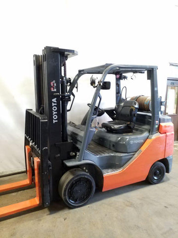 2014 TOYOTA 8FGC35U 8000 LB LP GAS FORKLIFT CUSHION 88/187 3 STAGE MAST SIDE SHIFTER 5424 HOURS STOCK # BF9219839-NCB