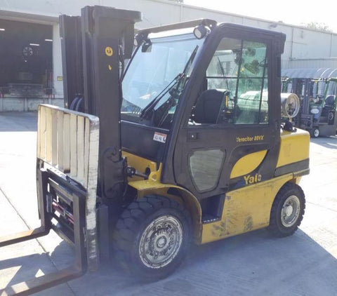 2014 YALE GLP080VX 8000 LB LP GAS FORKLIFT PNEUMATIC 90/185 3 STAGE MAST SIDE SHIFTING FORK POSITIONER 8725 HOURS STOCK # BF9217759-NCB