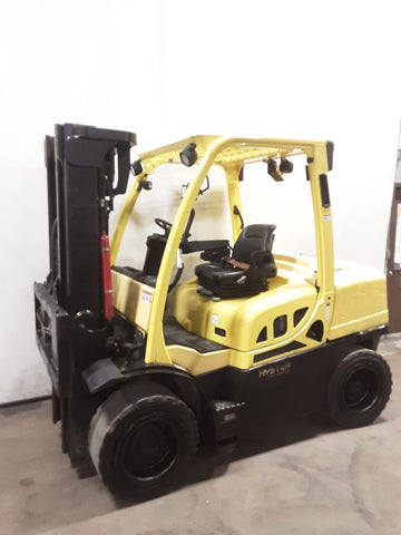 "2016 HYSTER H80FT 8000 LB DIESEL FORKLIFT PNEUMATIC 87/185"" 3 STAGE MAST 5805 HOURS STOCK # BF9236759-NCB"