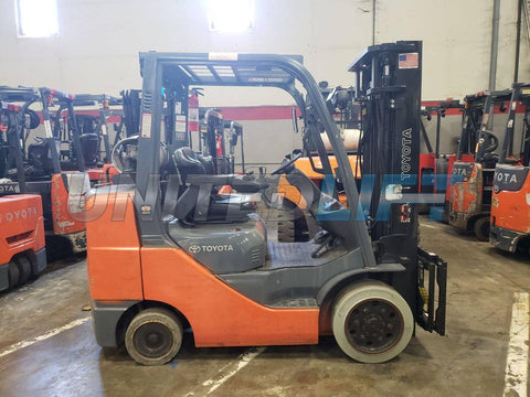 "2013 TOYOTA 8FGCU32 6500 LB LP GAS FORKLIFT CUSHION 89/132"" 2 STAGE MAST SIDE SHIFTER 17444 HOURS STOCK # BF9195989-PROKY"