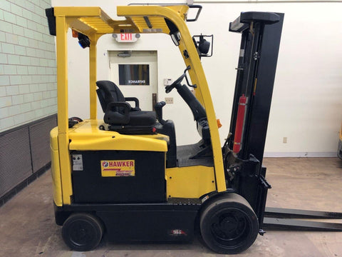 2013 HYSTER E60XN-33 6000 LB 36 VOLT ELECTRIC FORKLIFT CUSHION 83/126 2 STAGE MAST 5731 HOURS STOCK # BF9081399-BEMIN