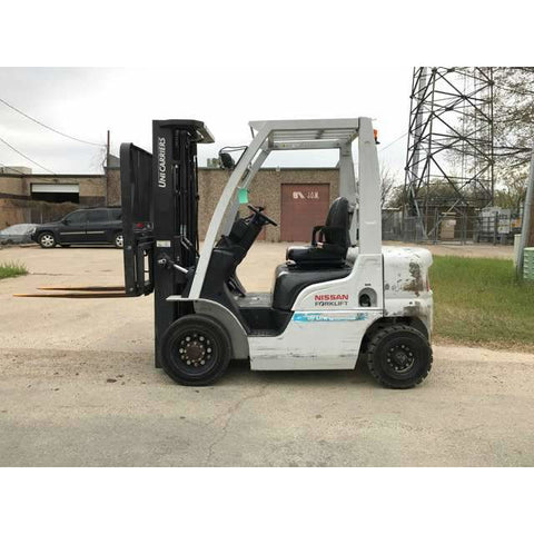"2013 NISSAN MY1F2-A20V 4000 LB DIESEL FORKLIFT PNEUMATIC TIRE 187"" 3 STAGE MAST 7200 HOURS STOCK # BFE570-PRTX"