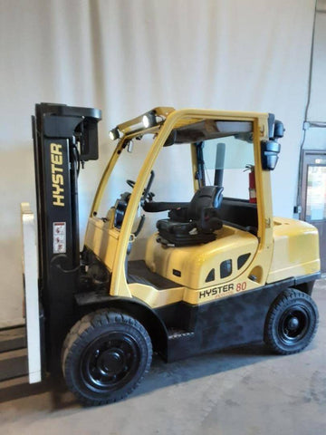 "2014 HYSTER H80FT 8000 LB DIESEL FORKLIFT PNEUMATIC 89/163"" 3 STAGE MAST SIDE SHIFTER 6753 HOURS STOCK # BF9235099-NCB - United Lift Used & New Forklift Telehandler Scissor Lift Boomlift"