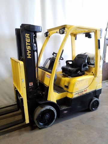 2016 HYSTER S50FT 5000 LB LP GAS FORKLIFT CUSHION 83/189 3 STAGE MAST SIDE SHIFTER 10792 HOURS STOCK # BF9221349-NCB
