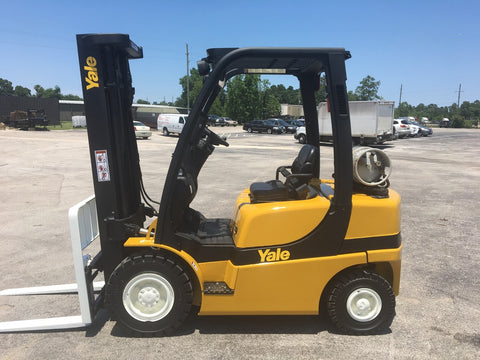 "2008 YALE GLP060VX 6000 LB LP GAS FORKLIFT PNEUMATIC 93/199"" 3 STAGE MAST SIDE SHIFTER 8400 HOURS STOCK # BF953435-TXB"