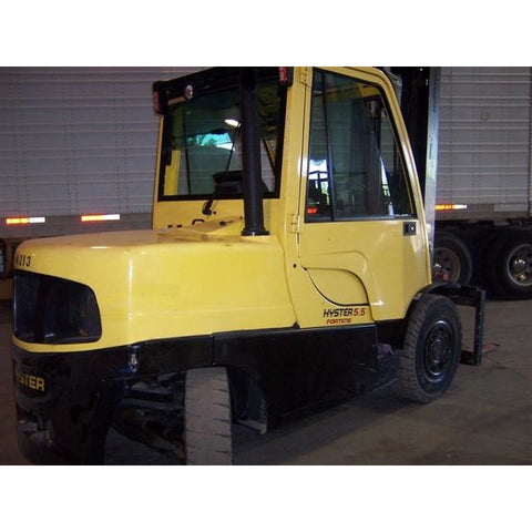 "2012 HYSTER H110FT 11000 LB DIESEL FORKLIFT PNEUMATIC 113/232"" 3 STAGE MAST ENCLOSED CAB SIDE SHIFTER STOCK # BF939149-PEMO"