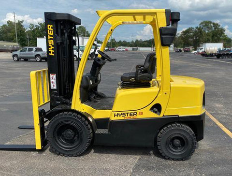 "2015 HYSTER H60FT 6000 LB DIESEL FORKLIFT PNEUMATIC 86/181"" 3 STAGE MAST SIDE SHIFTER 7672 HOURS STOCK # BF9139339-TXB"