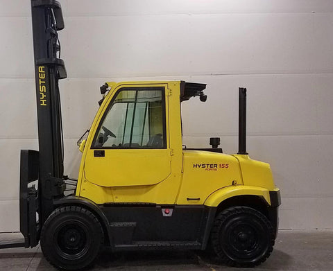 2008 HYSTER H155FT 15500 LB DIESEL FORKLIFT PNEUMATIC 146/214 2 STAGE MAST ENCLOSED CAB SIDE SHIFTER 2962 HOURS STOCK # BF9522759-BUF