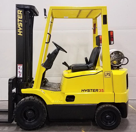 2003 HYSTER H35XM 3500 LB LP GAS FORKLIFT PNEUMATIC 83/189 3 STAGE MAST 5286 ORIGINAL HOURS STOCK # BF943889-BUF - United Lift Used & New Forklift Telehandler Scissor Lift Boomlift