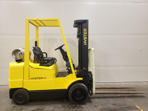 2004 HYSTER S55XMS 5500 LB LP GAS FORKLIFT CUSHION 83/185 3 STAGE MAST 9535 HOURS STOCK # BF949529-BUF