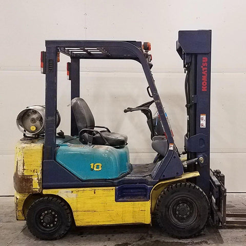 2005 KOMATSU FG18HT-16 3500 LB LP GAS FORKLIFT PNEUMATIC 84/187 3 STAGE MAST SIDE SHIFTER 4493 HOURS STOCK # BF953459-BUF