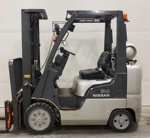 2006 NISSAN MCPL02A25LV 5000 LB LP GAS FORKLIFT with BUILT IN SCALE ATTACHMENT ON FORKS CUSHION 83/187 3 STAGE MAST SIDE SHIFTER 4755 HOURS STOCK # BF962539-BUF