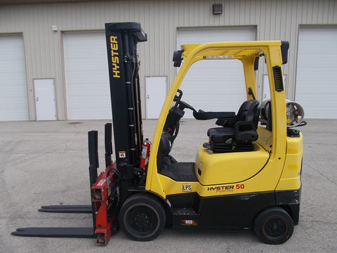 2013 HYSTER S50FT 5000 LBS LPG 218'' 3 STAGE MAST CUSHION FORK LIFT STK# BF922559-RIL