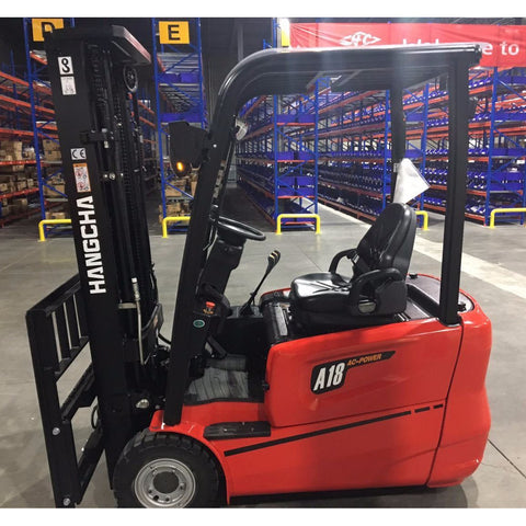 2020 HANGCHA AC6-S18 3500 LB FORKLIFT ELECTRIC 3 WHEEL CUSHION 80/185 3 STAGE MAST SIDE SHIFTER STOCK # BF919189-BUF - United Lift Used & New Forklift Telehandler Scissor Lift Boomlift