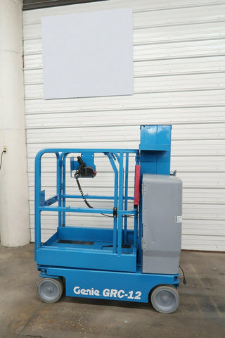 2010 GENIE GRC-12 500 LBS ELECTRIC PERSONNEL LIFT 12′ REACH CUSHION 144 HOURS STOCK # BF9477779-DPA