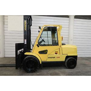 2000 HYSTER H100XM 10000 LB DIESEL FORKLIFT PNEUMATIC 110/159 2 STAGE MAST FORK POSITIONERS 3799 HOURS STOCK # BF62347-DPA - united-lift-equipment
