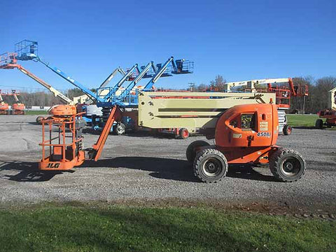 2011 JLG 450AJ ARTICULATING BOOM LIFT AERIAL LIFT WITH JIB ARM 45' REACH DIESEL 4WD 2008 HOURS STOCK # BF9333889-HLNY
