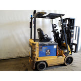 2011 CATERPILLAR E4000 3500 LB ELECTRIC FORKLIFT CUSHION 83/189 3 STAGE MAST SIDE SHIFTER 7498 HOURS STOCK # 19835-NCB