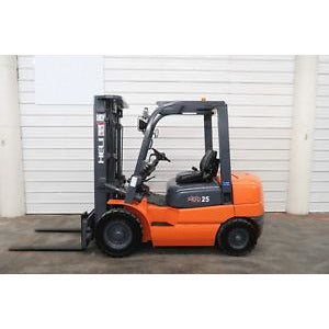 2011 HELI CPCD25 5000 LB DIESEL FORKLIFT PNEUMATIC 84/185 3 STAGE MAST SIDE SHIFTER 1590 HOURS STOCK # BF28152-DPA