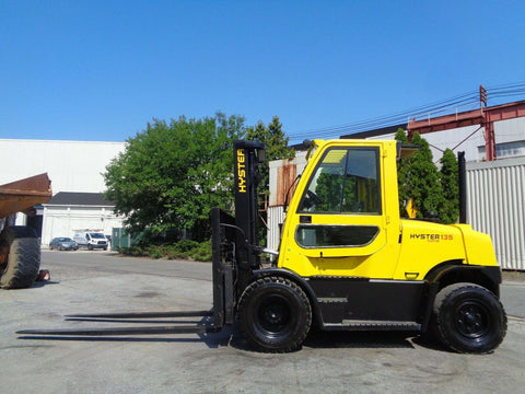 "2008 HYSTER H135FT 13500 LB LP GAS FORKLIFT PNEUMATIC 99/173"" 3 STAGE MAST DUAL TIRES SIDE SHIFTING FORK POSITIONERS ENCLOSED CAB 4171 HOURS STOCK # BF9470339-ESPA"