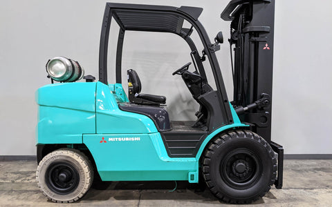 "2013 MITSUBISHI FG50CN 11000 LB LP GAS FORKLIFT SIDE SHIFTING FORK POSITIONER PNEUMATIC 94/189"" 3 STAGE MAST 2400 HOURS STOCK # BF9329519-ILIL - United Lift Used & New Forklift Telehandler Scissor Lift Boomlift"