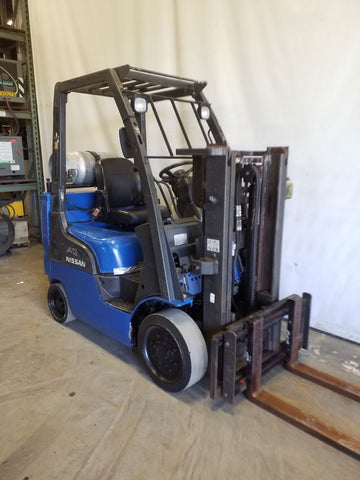 "2007 NISSAN MCPL02A20LV 4000 LB LP GAS FORKLIFT CUSHION TIRES 80"" 2 STAGE MAST 17390 HOURS STOCK # BF21657-NCB - united-lift-equipment"