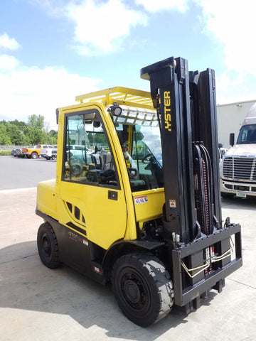 2015 HYSTER H90FT 9000 LB DIESEL FORKLIFT PNEUMATIC 102/218 3 STAGE MAST ENCLOSED CAB 8819 HOURS STOCK # BF9218359-NCB