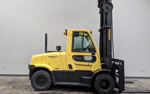 "2017 HYSTER H170FT 17000 LB DIESEL FORKLIFT PNEUMATIC 156/219"" 2 STAGE MAST ENCLOSED HEATED CAB DUAL TIRES SIDE SHIFTING FORK POSITIONER STOCK # BF9472109-ILIL - United Lift Equipment LLC"