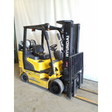 2014 HYUNDAI 25LC-7M 5000 LB LP GAS FORKLIFT CUSHION 84/185 3 STAGE MAST SIDE SHIFTER 8388 HOURS STOCK # 21565-NCB
