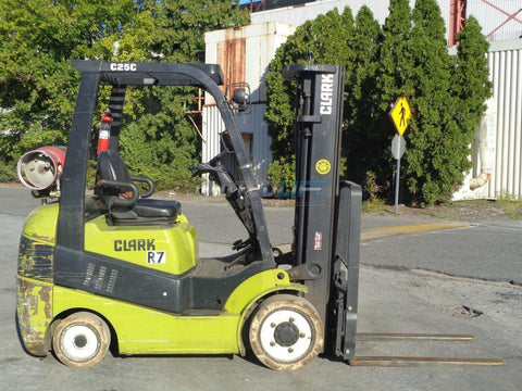 2014 CLARK C25CL 5000 LB CAPACITY LP GAS FORKLIFT CUSHION 82/189 3 STAGE MAST SIDE SHIFTER 690 HOURS STOCK # BF9375229-ESPA