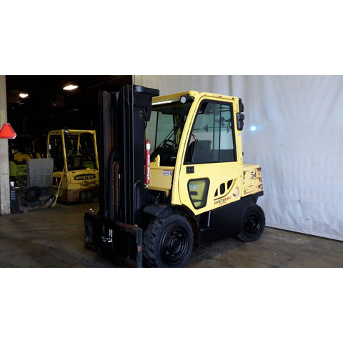 2011 HYSTER H80FT 8000 LB DIESEL FORKLIFT PNEUMATIC 117/183 3 STAGE MAST SIDE SHIFTER 9015 HOURS STOCK # 18076-NCB