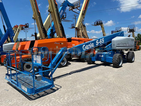 2013 GENIE S65 TELESCOPIC STRAIGHT BOOM LIFT AERIAL LIFT WITH JIB ARM 65' REACH DIESEL 4WD 4612 HOURS STOCK # BF9252789-RIL