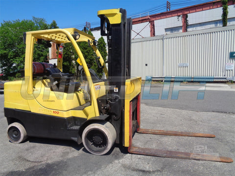 "2006 HYSTER S100FT 10000 LB LP GAS FORKLIFT CUSHION 96/197"" 3 STAGE MAST SIDE SHIFTER 9400 HOURS STOCK # BF9016379-ESPA"
