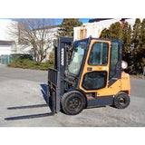 2013 DOOSAN G30P-5 6000 LB LP GAS FORKLIFT PNEUMATIC 85/186 3 STAGE MAST ENCLOSED CAB SIDE SHIFTING FORK POSITIONER 5305 HOURS STOCK # BF9019279-ESPA