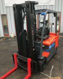 "2014 TOYOTA 7FBEU20 4000 LB 36 VOLT ELECTRIC FORKLIFT CUSHION 189"" 3 STAGE MAST SIDE SHIFTER 6368 HOURS STOCK # BF9613669-MWWI"